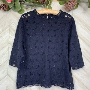 J. Crew Collection Navy Blue Top  Small